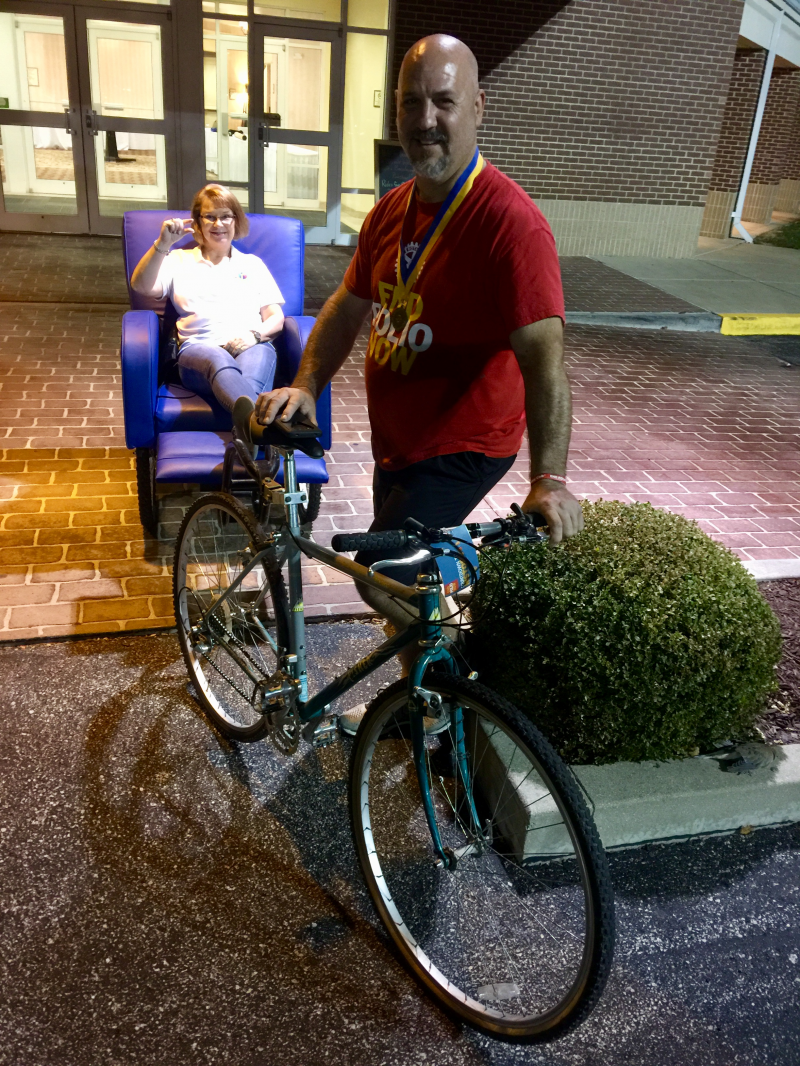 Ralph Zuke President of Fairview Heights who will ride this Barcolounger Rickshaw to Toronto in June 2018 to the RI Convention